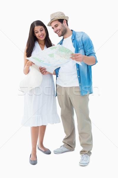 счастливым пару глядя карта белый Сток-фото © wavebreak_media