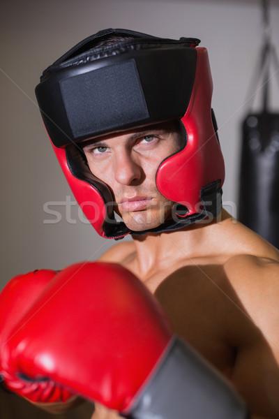 Férfi boxoló hozzáállás egészség klub közelkép Stock fotó © wavebreak_media