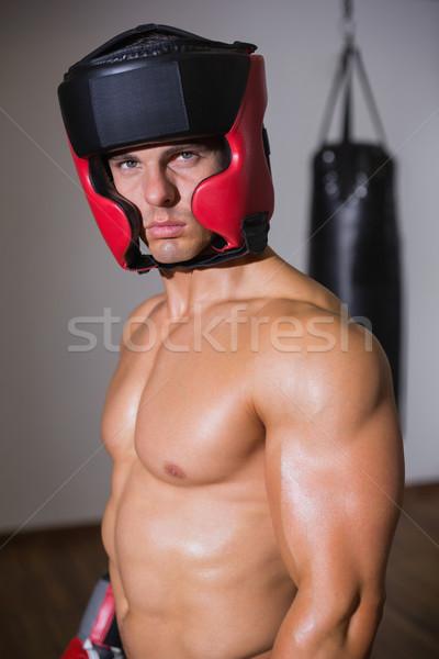 Portret shirtless gespierd bokser permanente gezondheid Stockfoto © wavebreak_media