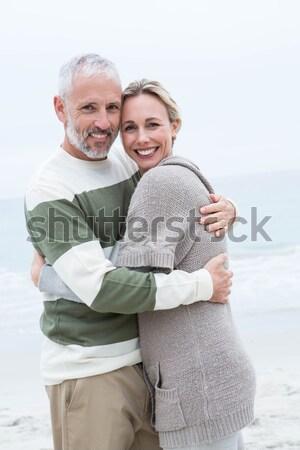Feliz casal sessão mulher chá Foto stock © wavebreak_media