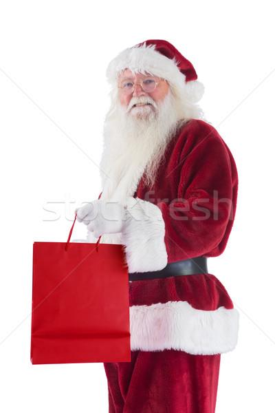 Święty mikołaj czerwony dar worek biały człowiek Zdjęcia stock © wavebreak_media