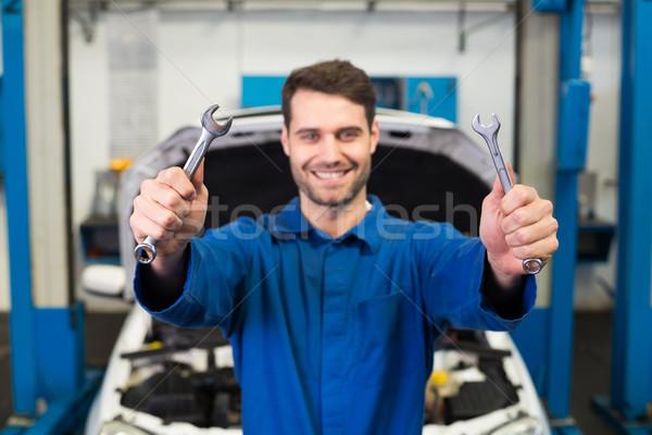 Mechanik pary klucze naprawy garaż Zdjęcia stock © wavebreak_media