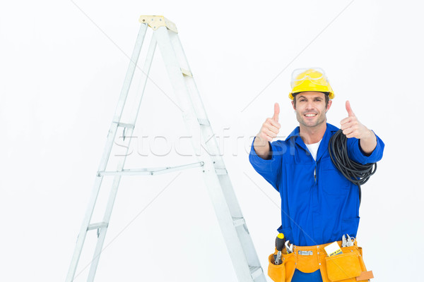 Glücklich Elektriker gestikulieren Leiter Porträt Stock foto © wavebreak_media