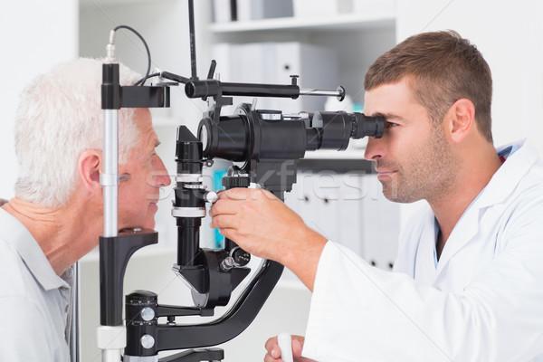 Optometrikus megvizsgál idős szemek lámpa férfi Stock fotó © wavebreak_media