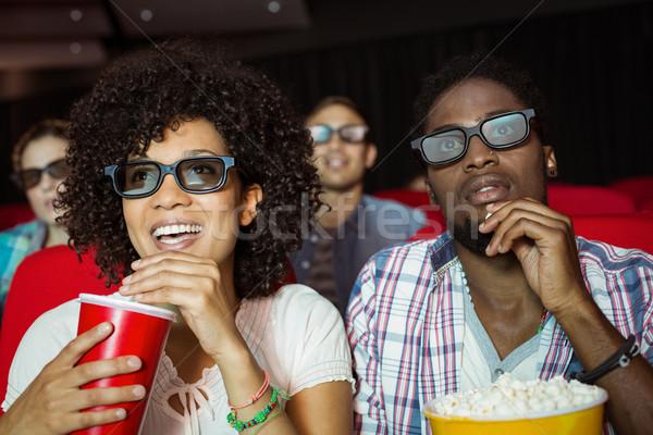 Fiatal pér néz 3D film mozi boldog Stock fotó © wavebreak_media