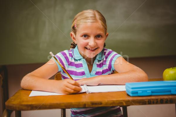 Portrait of cute little girl writing notes Stock photo © wavebreak_media
