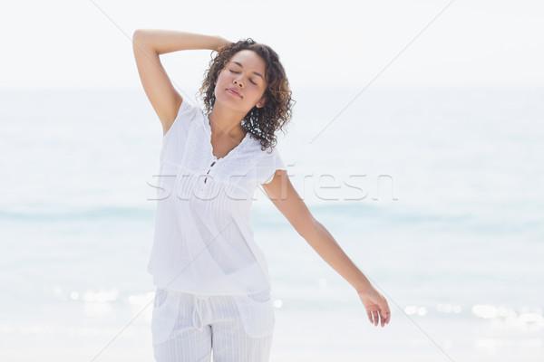 Boldog nő mosolyog tengerpart női fehér szabad Stock fotó © wavebreak_media
