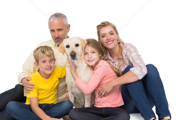 Szczęśliwą rodzinę domowych psa biały miłości szczęśliwy Zdjęcia stock © wavebreak_media