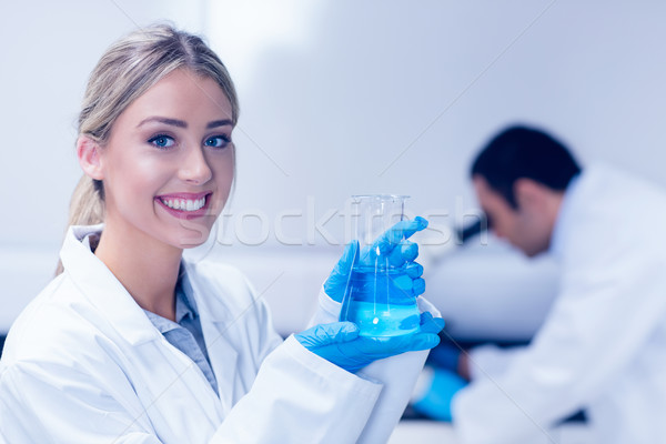 Nauki student niebieski chemicznych zlewka Zdjęcia stock © wavebreak_media