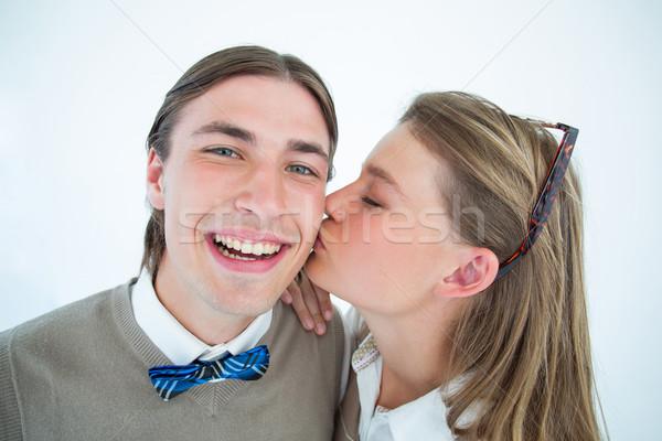 Bella fidanzato bacio guancia bianco Foto d'archivio © wavebreak_media