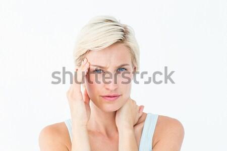 Mulher loira sofrimento dor de cabeça pescoço dor branco Foto stock © wavebreak_media