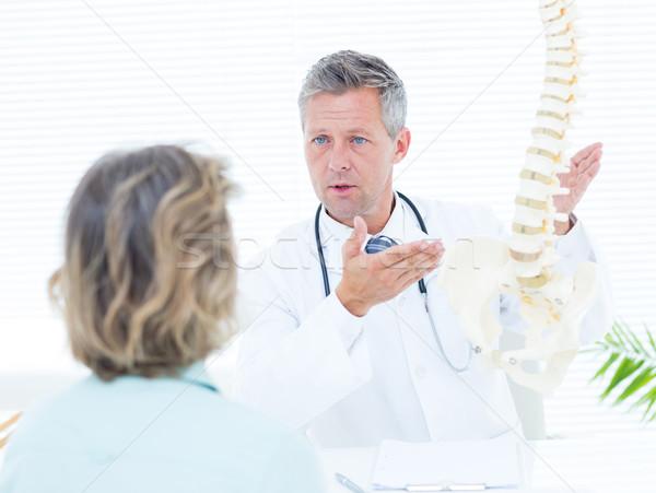 Stock fotó: Orvos · mutat · gerincoszlop · modell · beteg · orvosi