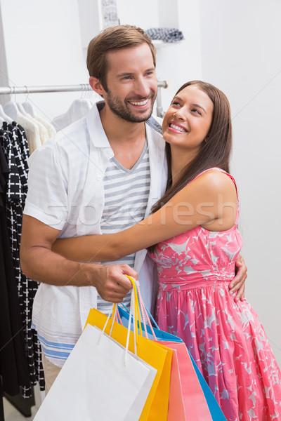 Mosolyog pár átkarol butik férfi boldog Stock fotó © wavebreak_media