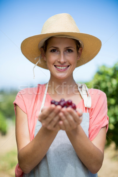 Portrait of smiling farmer holding red grapes Stock photo © wavebreak_media