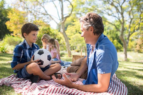 Vader praten zoon picknick park glimlachend Stockfoto © wavebreak_media