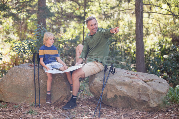 Vater Richtung Sohn Wald Lesung Stock foto © wavebreak_media