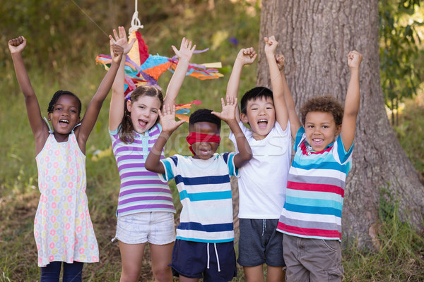 Vrienden juichen geblinddoekt jongen camping gelukkig Stockfoto © wavebreak_media