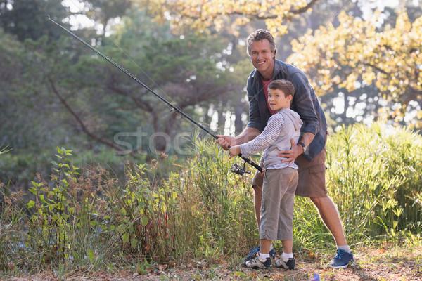 отцом сына рыбалки растений лес дерево любви Сток-фото © wavebreak_media