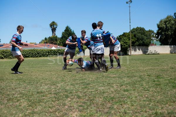 Rugby maç oynama alan gökyüzü Stok fotoğraf © wavebreak_media