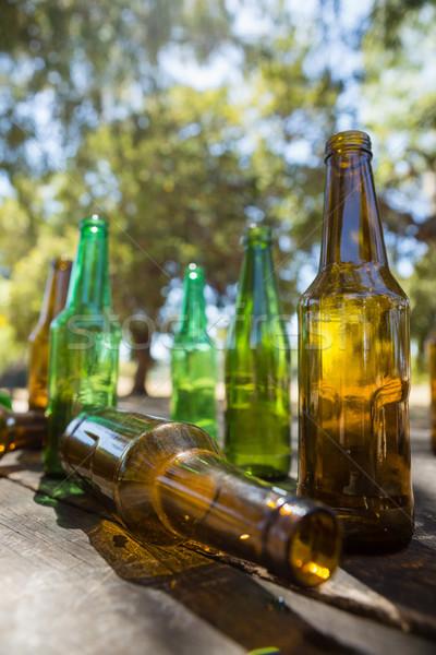 üres sör üvegek fából készült palánk park Stock fotó © wavebreak_media