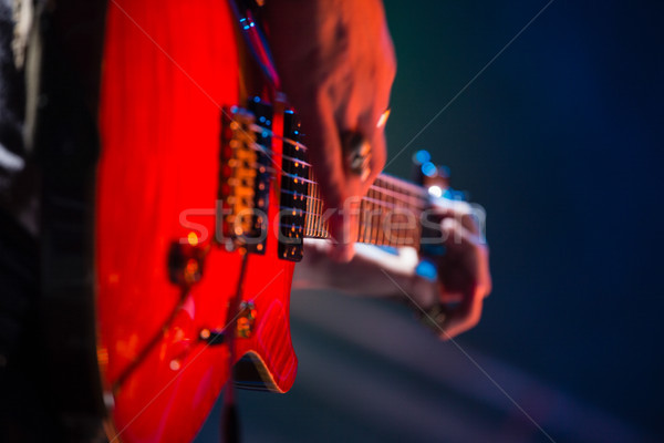 Close-up of guitarist playing guitar on stage Stock photo © wavebreak_media