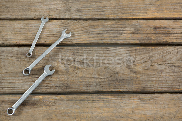 Overhead view of metallic wrench Stock photo © wavebreak_media