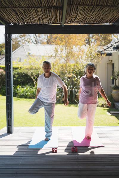 Smiling senior couple exercising at porch during sunny day Stock photo © wavebreak_media