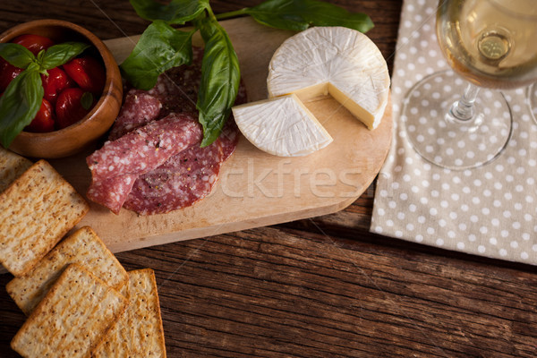 Photo stock: Fromages · viande · table · vin
