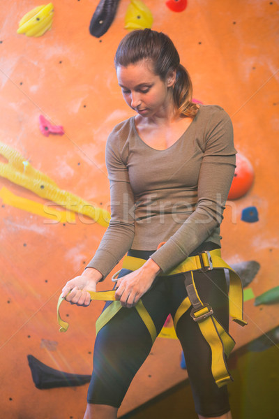 Determined woman wearing safety harness Stock photo © wavebreak_media