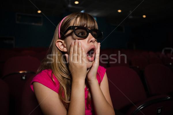 Meglepődött lány visel 3d szemüveg néz film Stock fotó © wavebreak_media