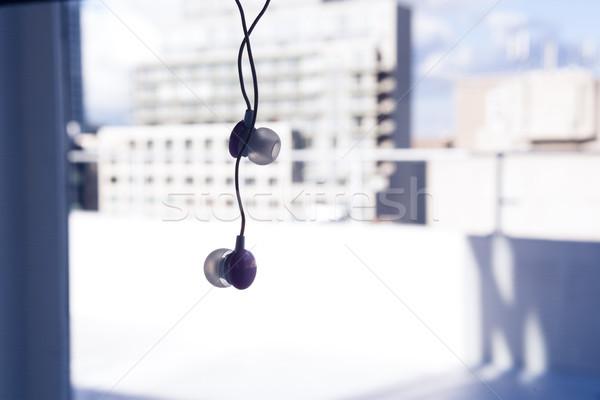 Kulaklık asılı pencere müzik cam Stok fotoğraf © wavebreak_media