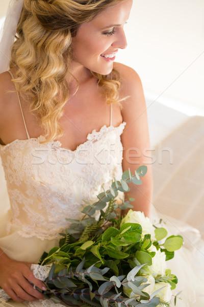 View sorridere sposa bouquet Foto d'archivio © wavebreak_media
