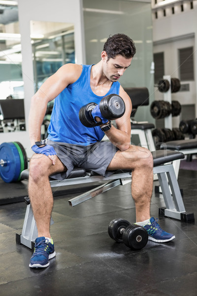 Muscular man lifting dumbbell while sitting on bench Stock photo © wavebreak_media
