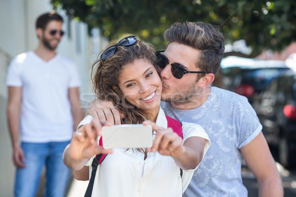 Biodro para kobieta telefonu szczęśliwy Zdjęcia stock © wavebreak_media