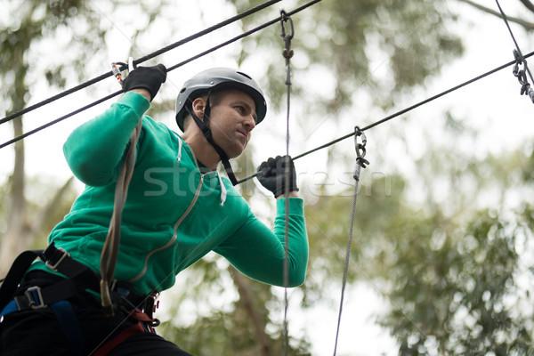 Man enjoying zip line adventure in park Stock photo © wavebreak_media