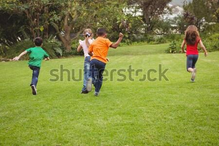 Futbol oyuncular oynama futbol zemin Stok fotoğraf © wavebreak_media