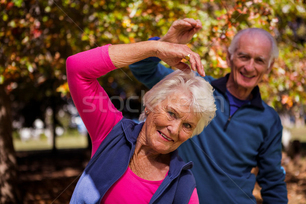Stock photo: Elderly couple making fitness