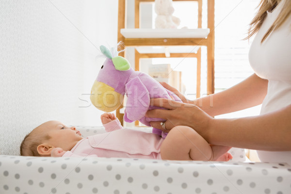 Moeder spelen baby home vrouw slaapkamer Stockfoto © wavebreak_media
