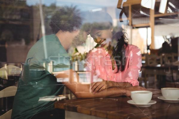 カップル カフェテリア 幸せ 女性 男 表 ストックフォト © wavebreak_media