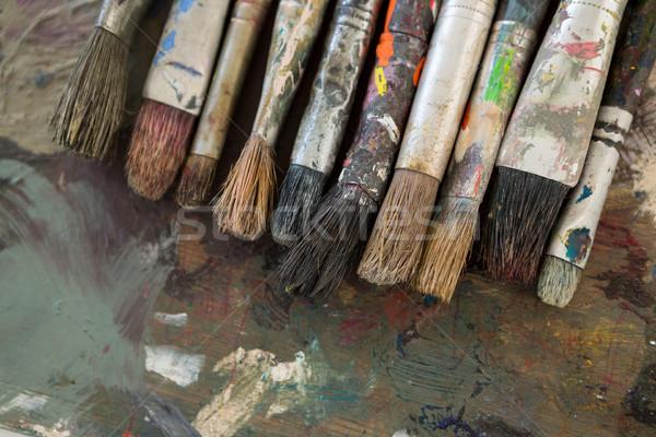 Suluboya boya paletine eğitim boyama fırçalamak Stok fotoğraf © wavebreak_media