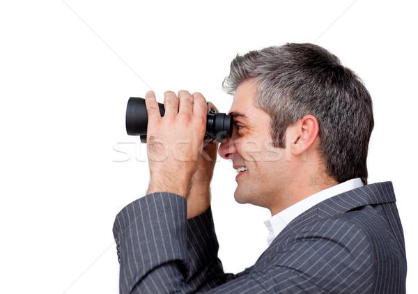 Ernstig zakenman verrekijker man gelukkig werk Stockfoto © wavebreak_media