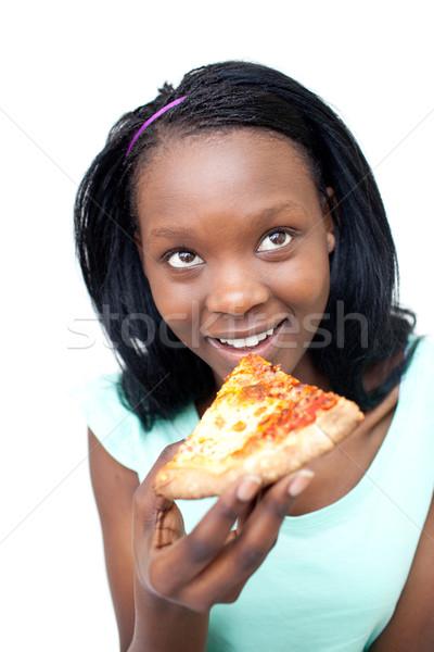 Glimlachend tienermeisje eten pizza meisje voedsel Stockfoto © wavebreak_media