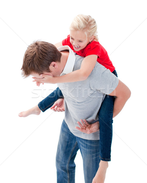 Lively father giving his daughter piggyback ride Stock photo © wavebreak_media