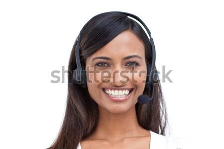 Mooie etnische zakenvrouw hoofdtelefoon portret business Stockfoto © wavebreak_media