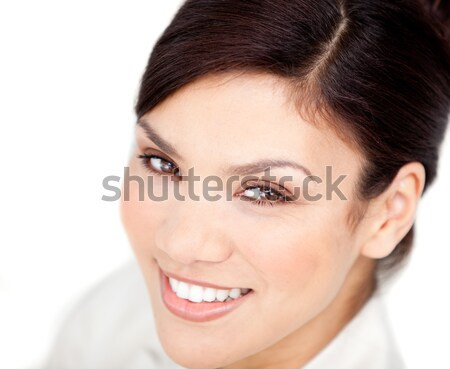 Stock photo: Portrait of a bright businesswoman smiling at the camera