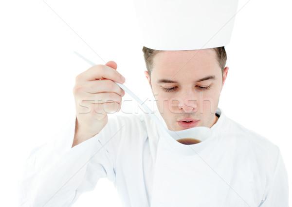 Grave cocinar degustación sopa blanco alimentos Foto stock © wavebreak_media