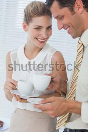 カップル 飲料 カップ 茶 ベッド ストックフォト © wavebreak_media
