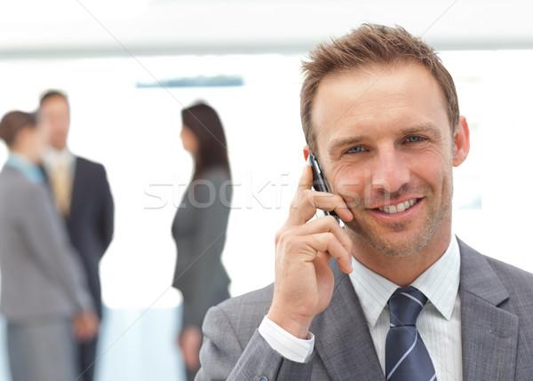 Gelukkig zakenman telefoon team werken business Stockfoto © wavebreak_media