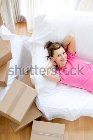 Nyugodt nő gyakorol jóga otthon ház Stock fotó © wavebreak_media