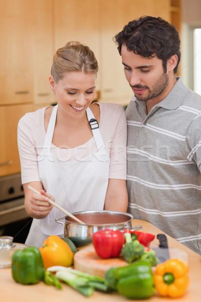 Portret para sos kuchnia szczęśliwy zdrowia Zdjęcia stock © wavebreak_media